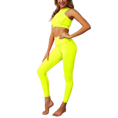 Women Sportwear sweat Suit High Waist Yoga set Crop Top Bra Pad Elastic pant with Zipper Back Tank fitness Gym Clothing