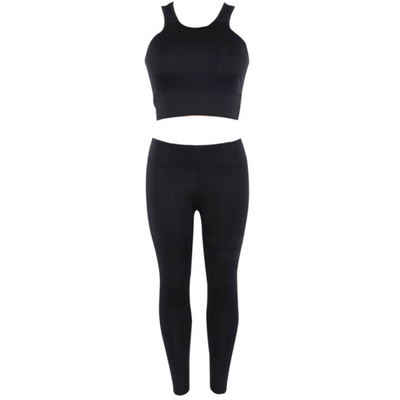 Hot Sale 2PCS/Set 2020 Workout Fitness Women Yoga Suit Crop Top and Full Pants Stretchy Sport Set High Waist Sports Legging Gym