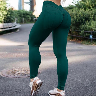 NORMOV Casual Women Leggings Workout High Waist Push Up Pockets Ankle Length Polyester Leggin Fitness Solid Leggings Female