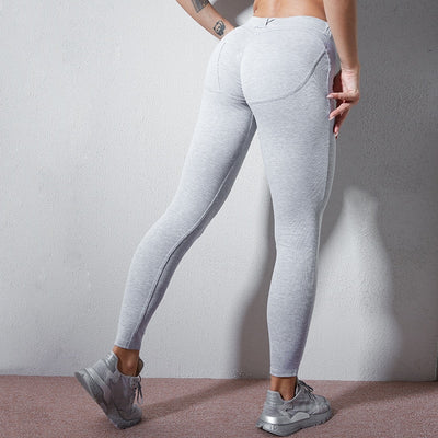 NORMOV Casual Women Leggings Solid Button Low Waist Push Up Ankle Length Polyester Leggings Skinny Fitness Pocket Ladies Leggins
