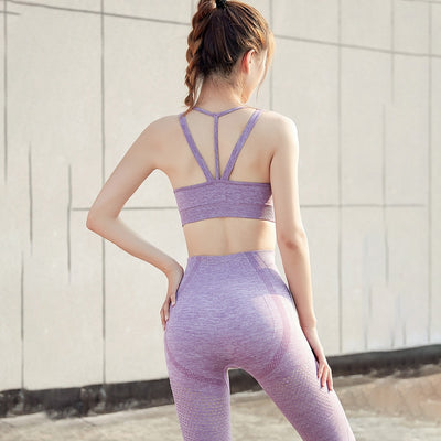 NORMOV Mesh Seamless Two-Piece Set Women Elastic High Waist Fitness Workout Leggings Set Female Gather Push Up Bra Sets Femme