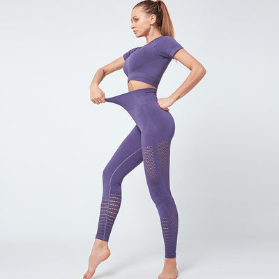 NORMOV Seamless Fitness Two-Piece Set Women O-Neck Hollow Short Sleeve Set Femme High Waist Elastic Leggings Push Up Sets Femal