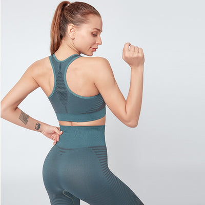NORMOV New Hollow Seamless Two-Piece Set Women High Waist Elastic Fitness Leggings Set Female Sleeveless Gather Push Up Bra Sets