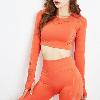 NORMOV Breathable Hollow Two-Piece Set Women Long Sleeve Elastic Fitness Set Female High Waist Push Up Leggings Sets Workout