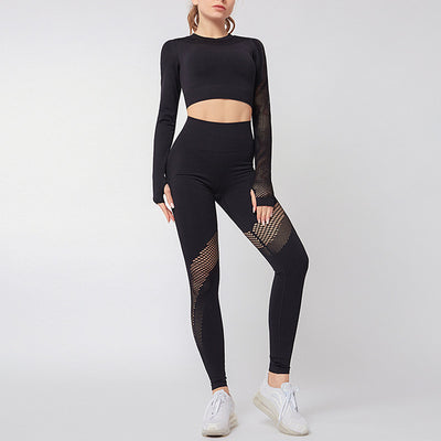 NORMOV Hollow Two-Piece Set Women Exposed Navel Long Sleeve Elastic Tops Set Breathable High Waist Push Up Leggings Sets Femme