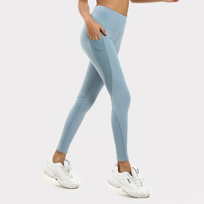NORMOV Pocket Mesh Leggings Women Patchwork Breathable High Waist Legging Fitness Femme Skinny Elastic Push Up Leggings Workout