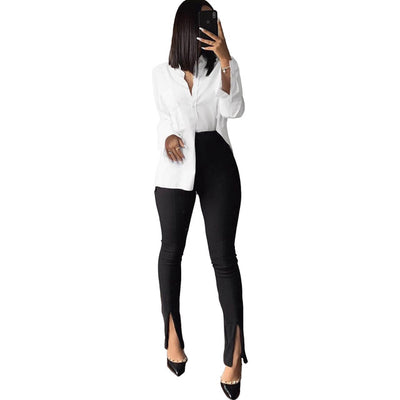 High Waist Elastic Office Lady Pencil Pant Women Fashion Split Hem Bell Bottom Legging Summer Black Pink Skinny Bottom Leggings