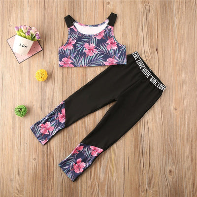 Toddler Infant Baby Girls Clothes Set Tracksuit 2020 Summer Sport Outfit Kids Floral Sleeveless Crop Tops+Leggings Pants Outfit