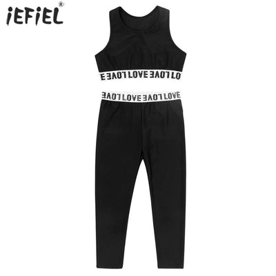 Kids Girls Clothes Fashion Letter Print Sport Tanks Top with Leggings Summer Sleeveless Workout Gym Dance Gym Outfit 6-14 Year