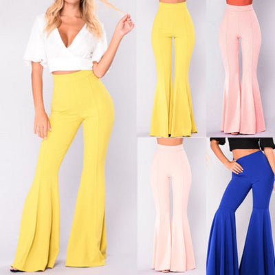 Boho Hippie High Waist Wide Leggings Long Flared Bell Bottom Pants Summer Spring Blue Yellow S M L XL USA