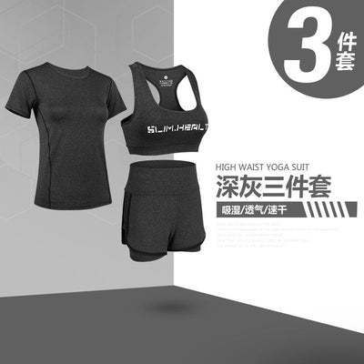 New Fitness short sleeve tops + shorts Leggings 3 piece set Female Workout Office Suit Set Women's Costumes fashion trends suit