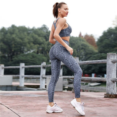 SVOKOR Fragmentation Printing Two Piece Suite Leggings Women Fitness Patchwork Ankle-Length Trouser High Waist Women Set