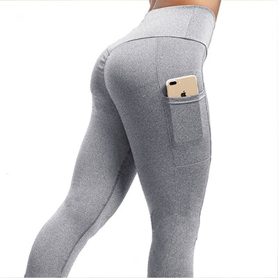 NORMOV Solid Fitness Women Leggings Pocket High Waist Elasticity Push Up Polyester Legging Fashion Mujer Workout Leggings
