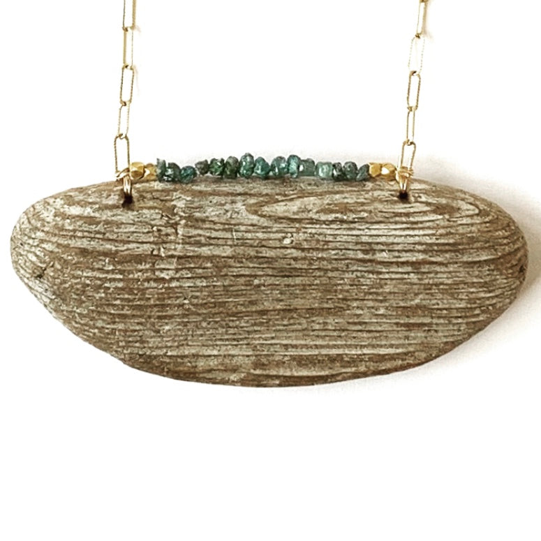 Driftwood & Raw Blue Diamond Necklace