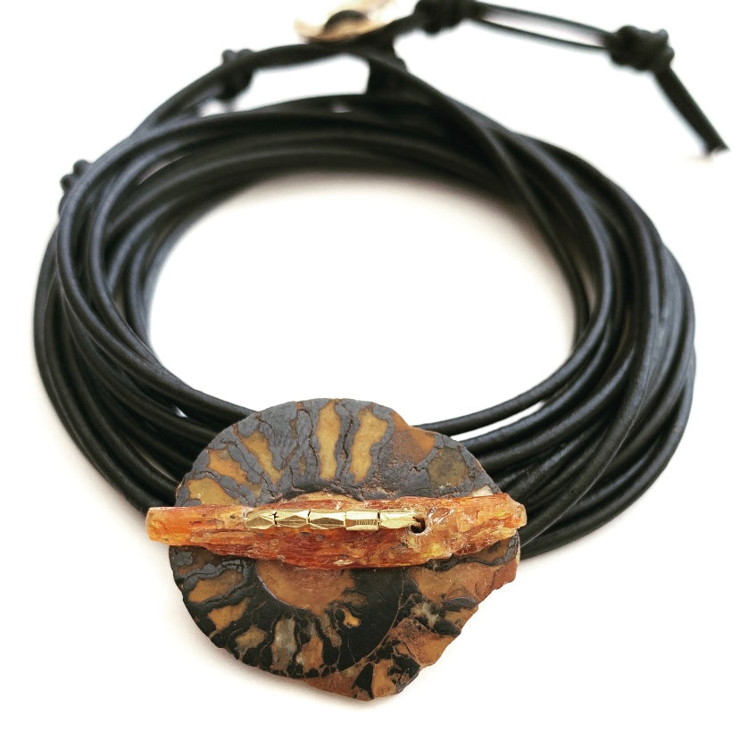 Ammonite Fossil & Orange Kyanite Bracelet