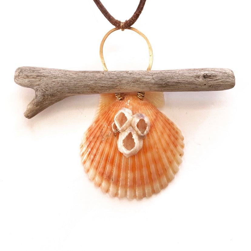 Barnacle Seashell & Driftwood Necklace