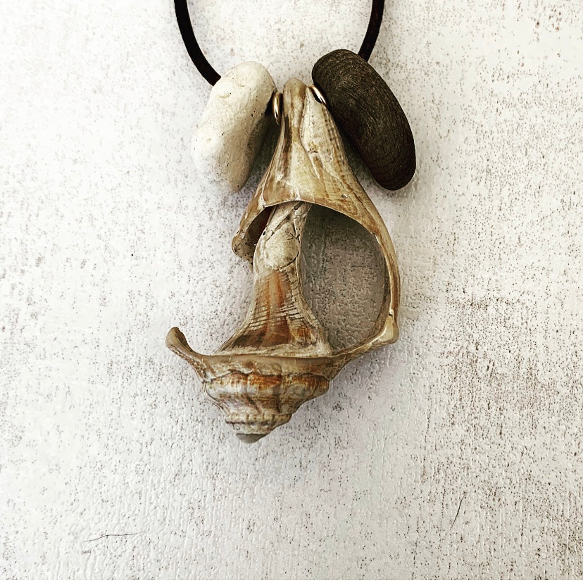 Coral, Seashell & Driftwood Necklace