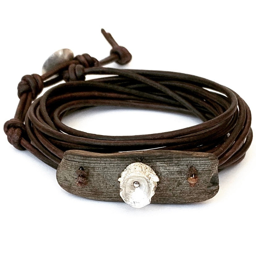 Cast Elk Antler, Driftwood & Raw Red Diamonds Bracelet
