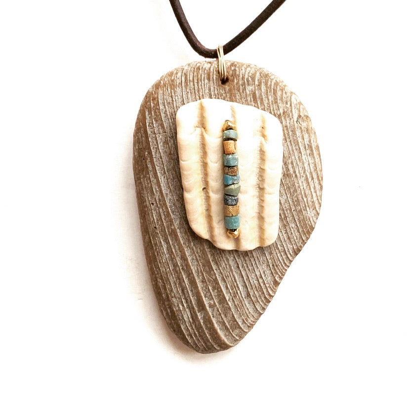 Driftwood + Seashell + Turquoise Necklace