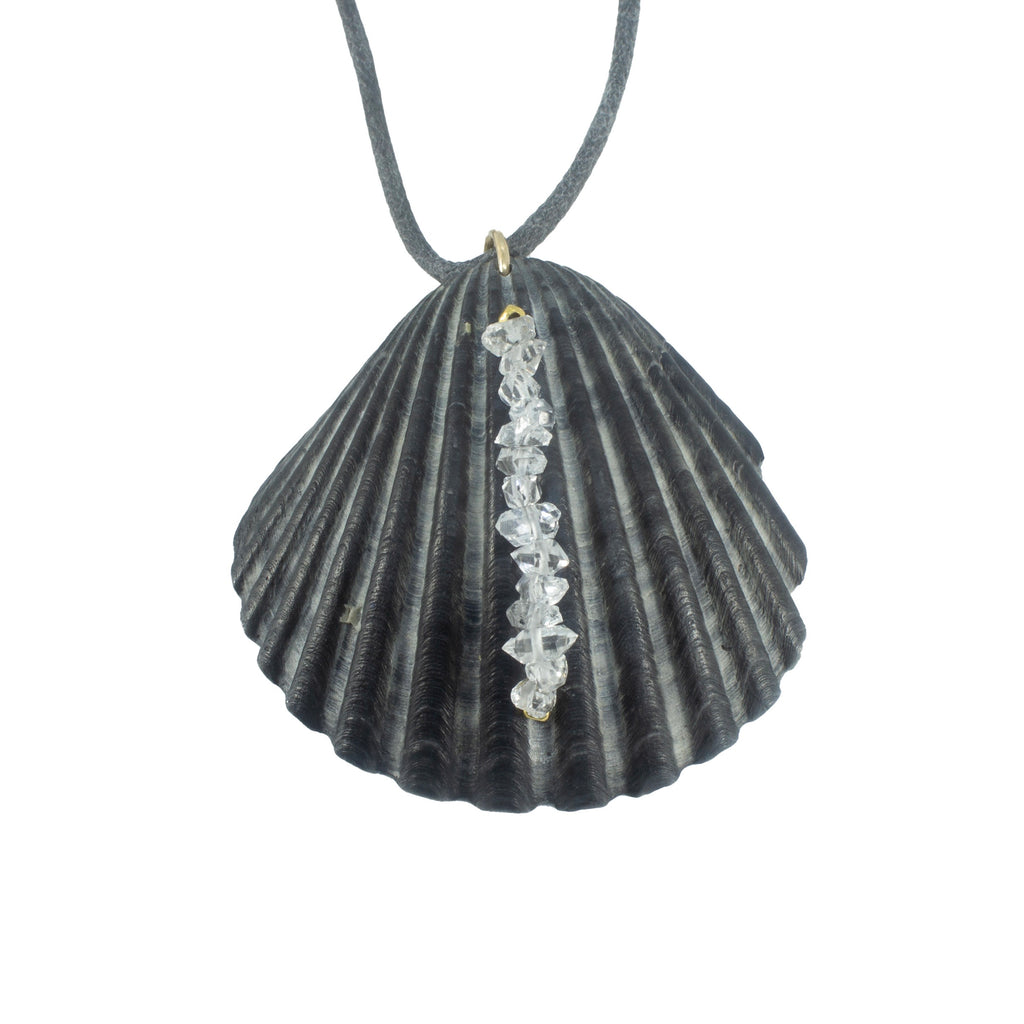 Scallop Seashell + Herkimer Diamond Necklace