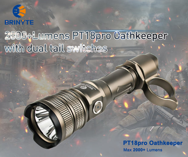 2000+lumens & 360+m Brinyte PT18pro Oathkeeper tactical light with dual tail switches-Desert Tan