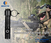 1600+lumens & 245+m Palm-sized Brinyte PT28 Oathkeeper tactical light-Black
