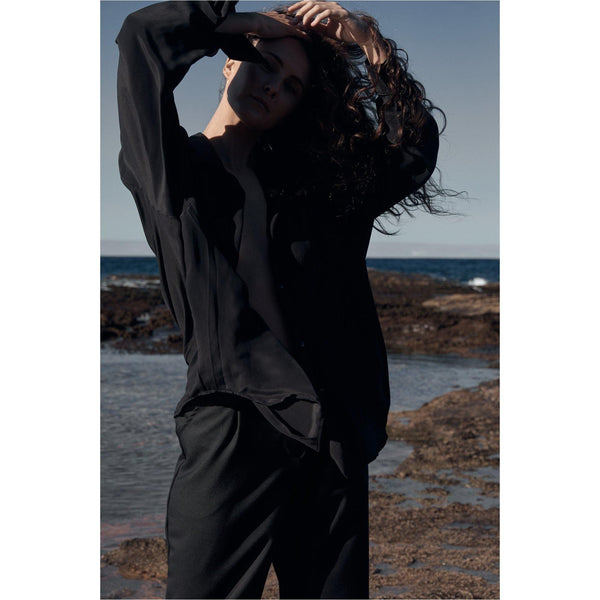 Classic Silk Shirt Long Sleeve Black