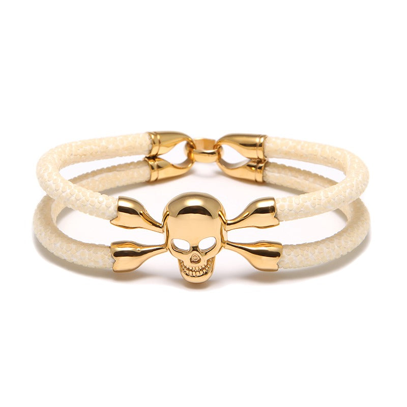 Ivory Stingray Cranium Yellow Gold Double Tour Bracelet