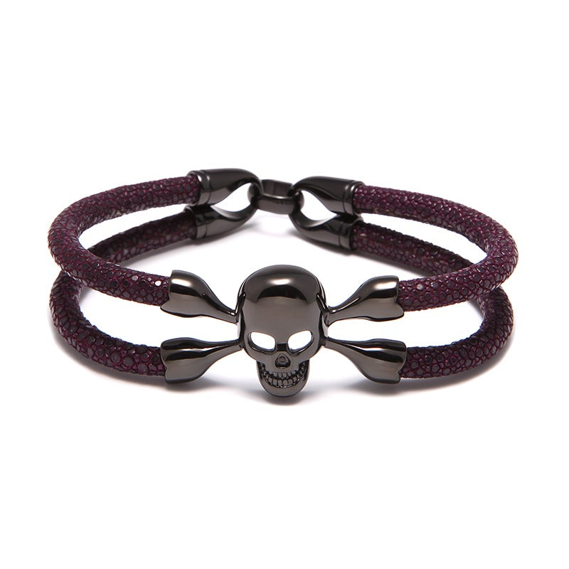 Amethyst Stingray Cranium Black Gold Double Tour Bracelet