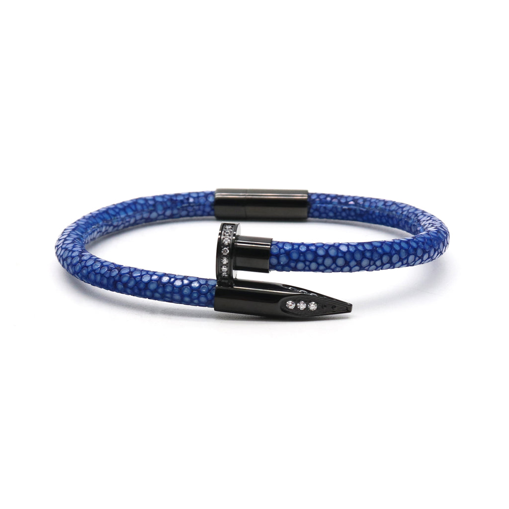 Blue Stingray Clavus Black Gold Bracelet
