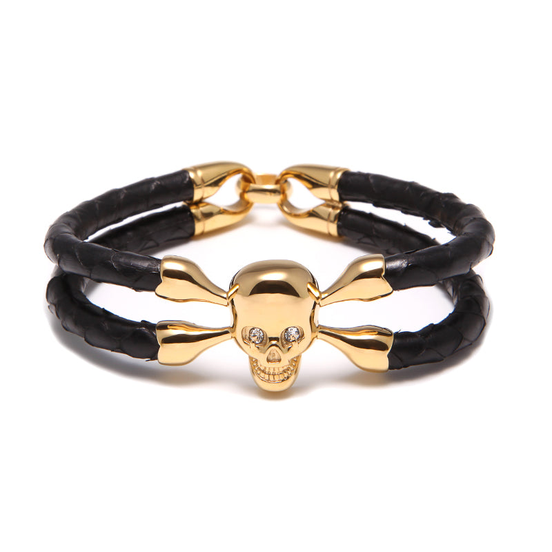 Black Python Cranium Yellow Gold Double Tour Bracelet