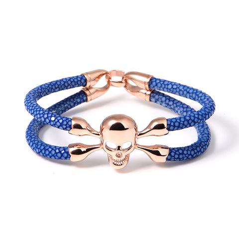 Blue Python Stingray Cranium Rose Gold Double Tour Bracelet