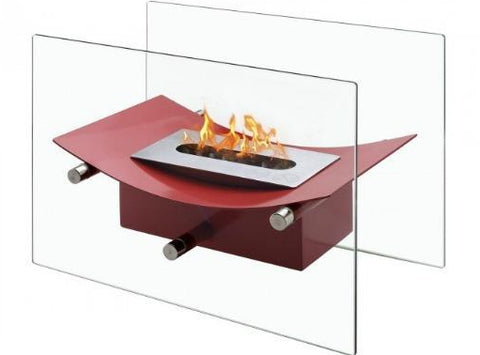 ignis red tabletop ventless gas fireplace