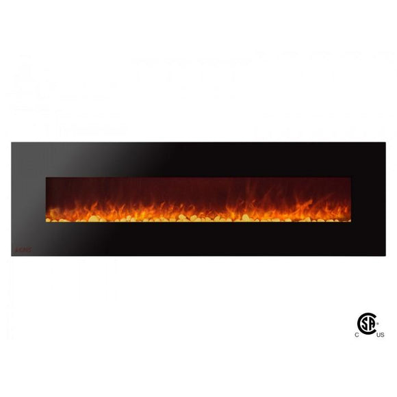 Royal - Wall Mount Electric Fireplace with Pebbles - 72 inch