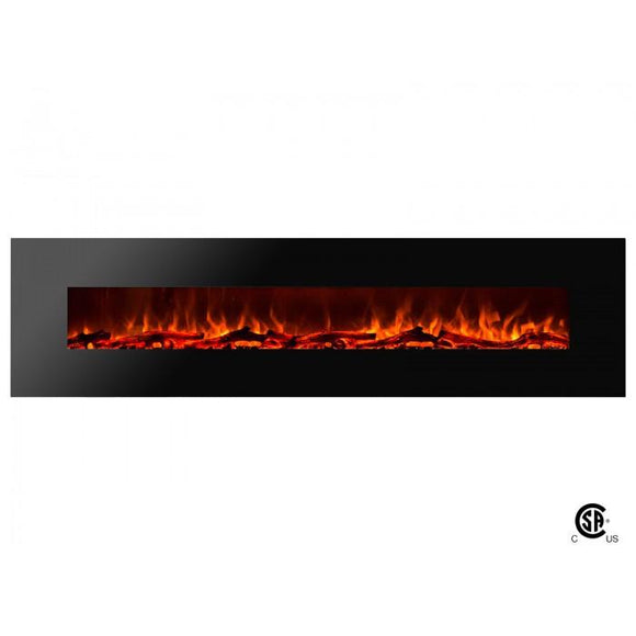 Royal - Wall Mount Electric Fireplace with Logs - 95 inch