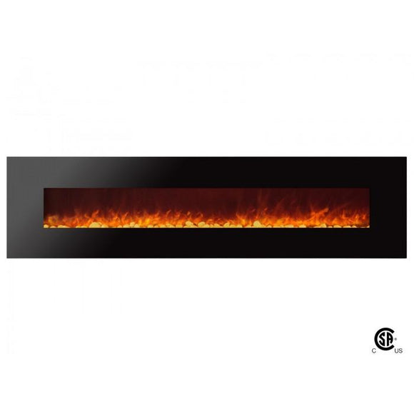 Royal - Wall Mount Electric Fireplace with Pebbles - 95 inch