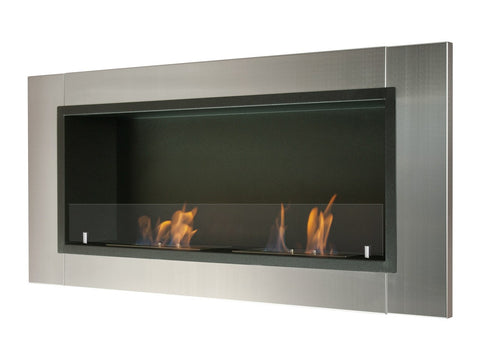 "Ignis Lata Wall Mounted Recessed Ethanol Fireplace w/Glass 43.25"" - Fire Pit Plaza - 1"