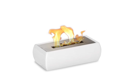 "Ignis Lia White Tabletop Ventless Ethanol Fireplace 12.5"" - Fire Pit Plaza - 1"