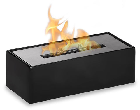 "Ignis Mia Black Tabletop Ventless Ethanol Fireplace 12"" - Fire Pit Plaza - 1"