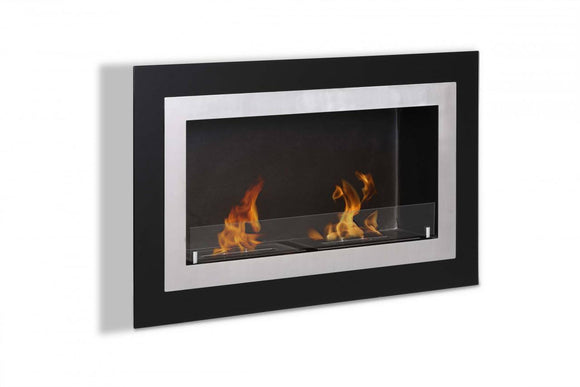 Ignis Villa Wall Mounted Ventless Ethanol Fireplace w/Glass 35.5