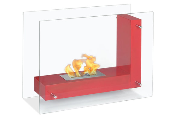 Ignis Vitrum L Red Freestanding Ventless Ethanol Fireplace 31.5