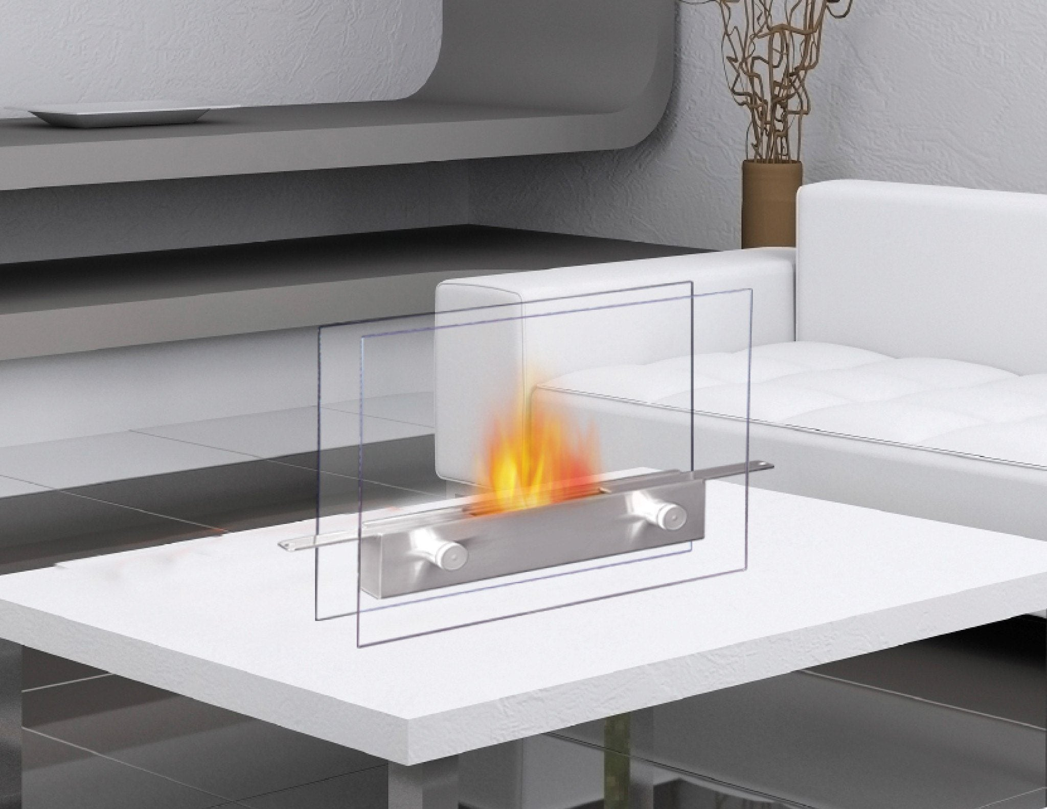 "Metropolitan 14"" Tabletop Fireplace. Manufactured By Anywhere Fireplace. Ventless. Stunning Stainless Steel And Glass Design. Sure To Delight Your Guests."
