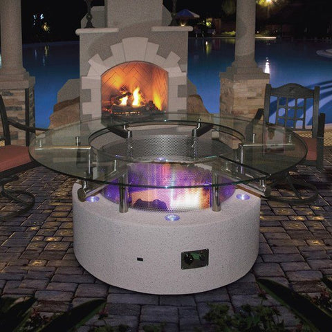 calflame natural gas propane fire pit table height