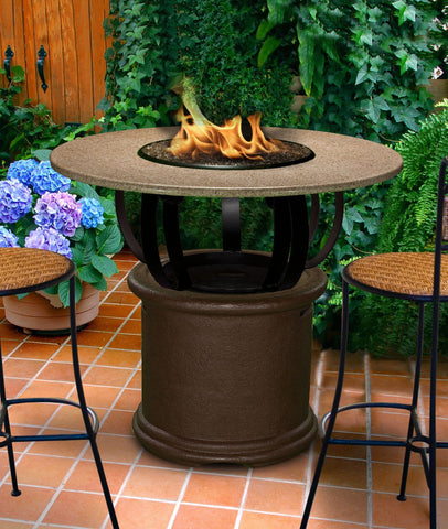 Fire Pit Table - Del Mar Bar Height Gas/Propane Fire Pit Table