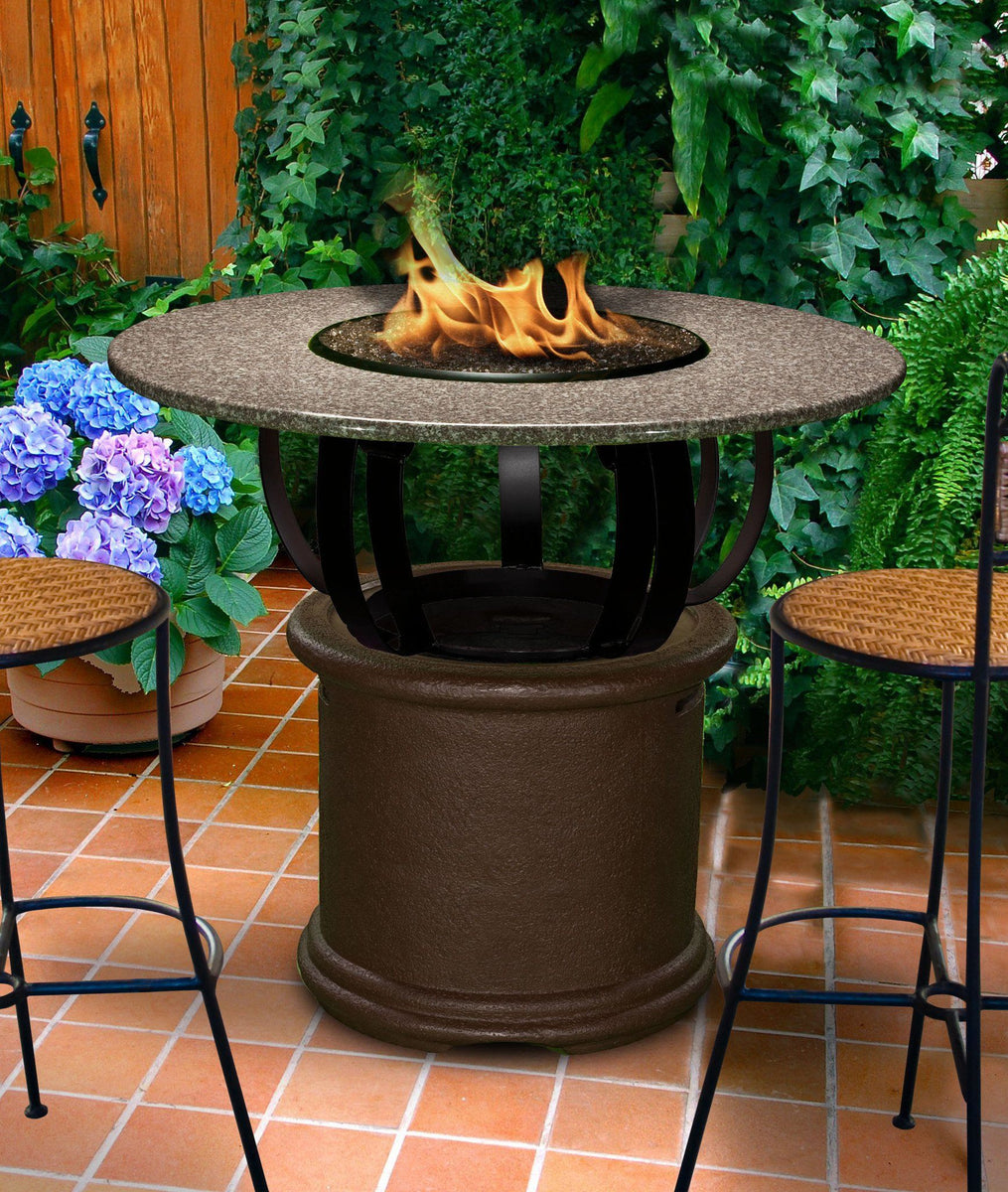 Del Mar Bar Height Gas/Propane Fire Pit Table - Fire Pit Plaza