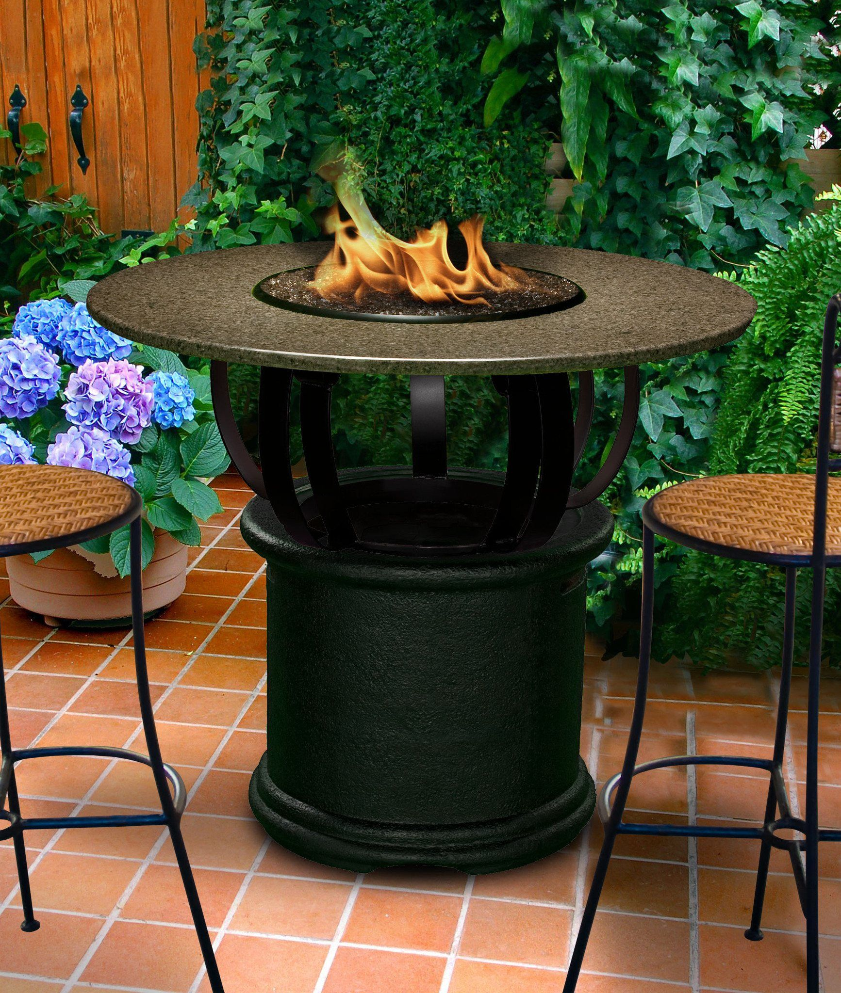 Del Mar Bar Height Gas Propane Fire Pit Table Fire Pit Plaza