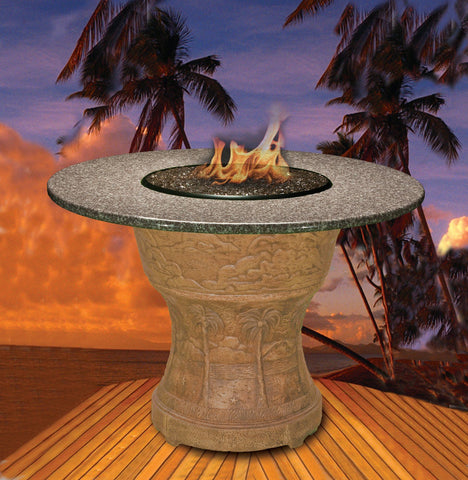 Fire Pit Table - Palm Bar Height Gas/Propane Fire Pit Table