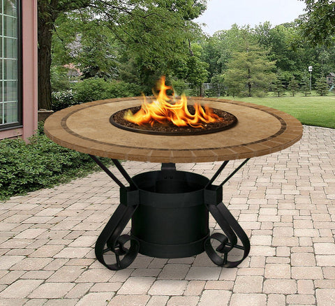 propane fire pit table patio set lowes dining height gas large diy