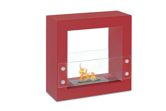Freestanding Ethanol Fireplace - Ignis Tectum Mini Red Freestanding Ventless Ethanol Fireplace 23.5