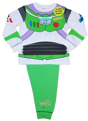 Boy's Buzz Lightyear Costume Pyjamas, with Buzz Lightyear Style Top, and Green, Buzz Lightyear Logo Bottoms.